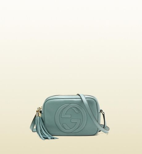 Gucci Soho Light Blue Leather Disco Bag in Blue