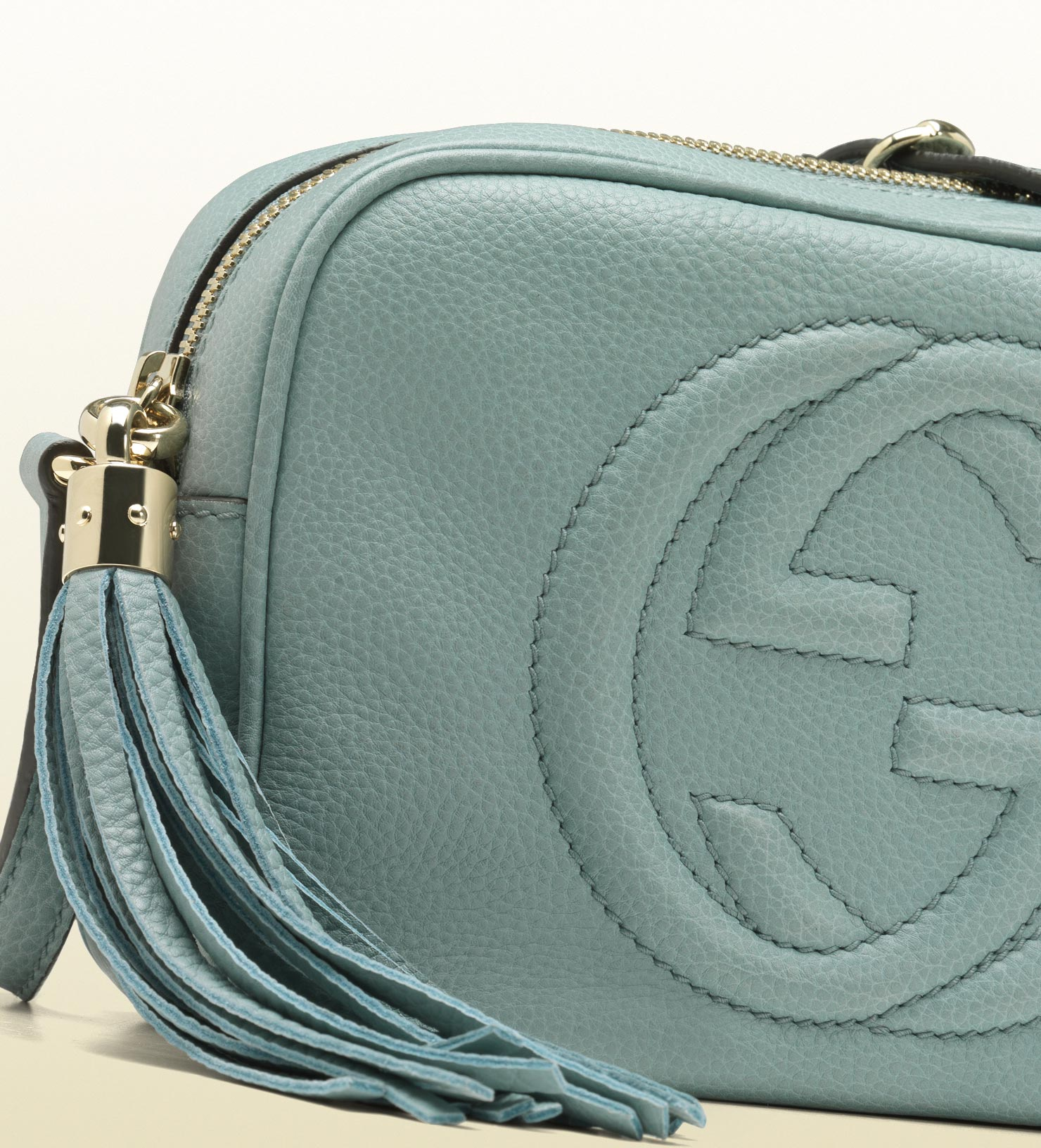 f7f130e3be0b17 Gucci Soho Light Blue Leather Disco Bag - Collections Blue Images