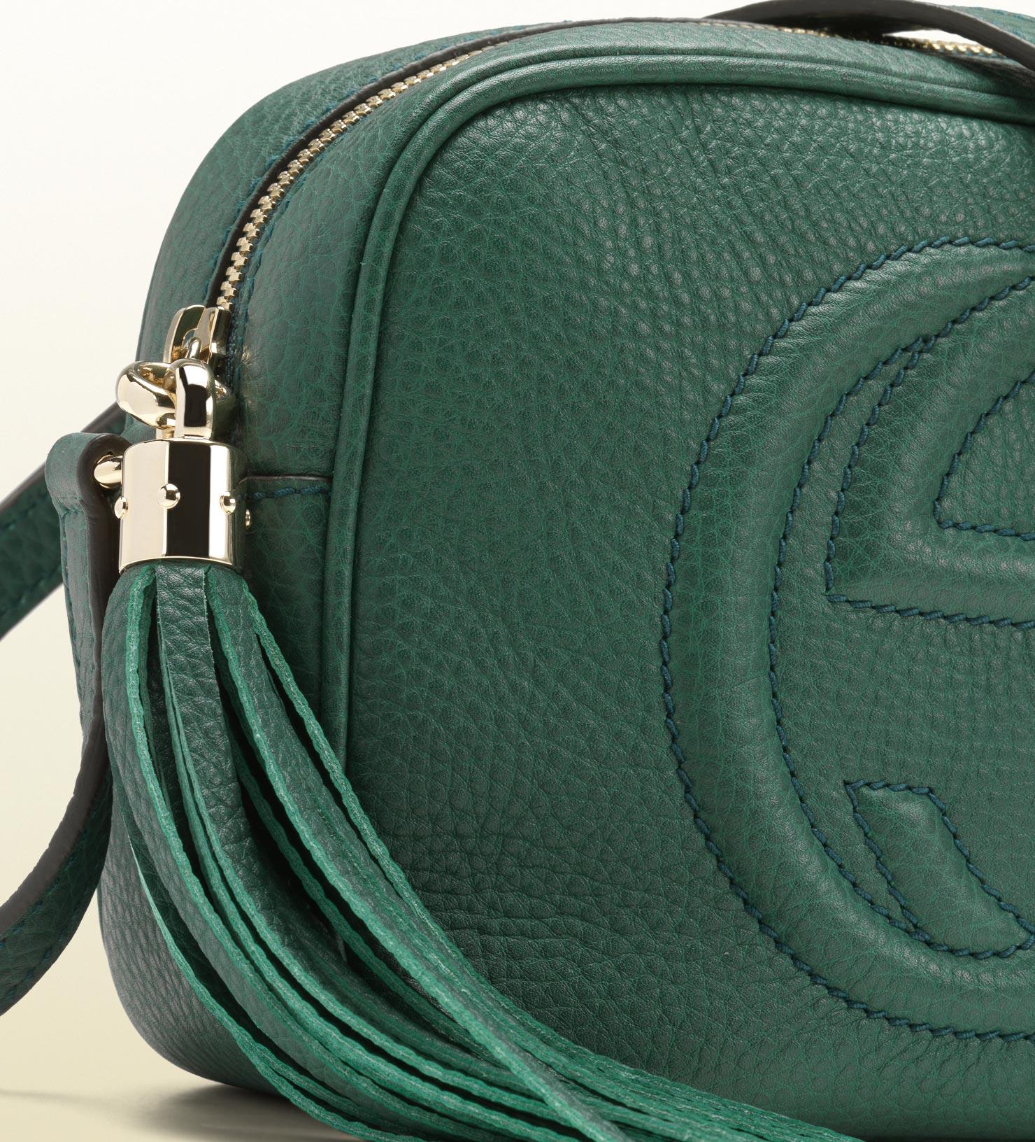 26c49ab4700 Lyst - Gucci Soho Dark Green Disco Bag in Green