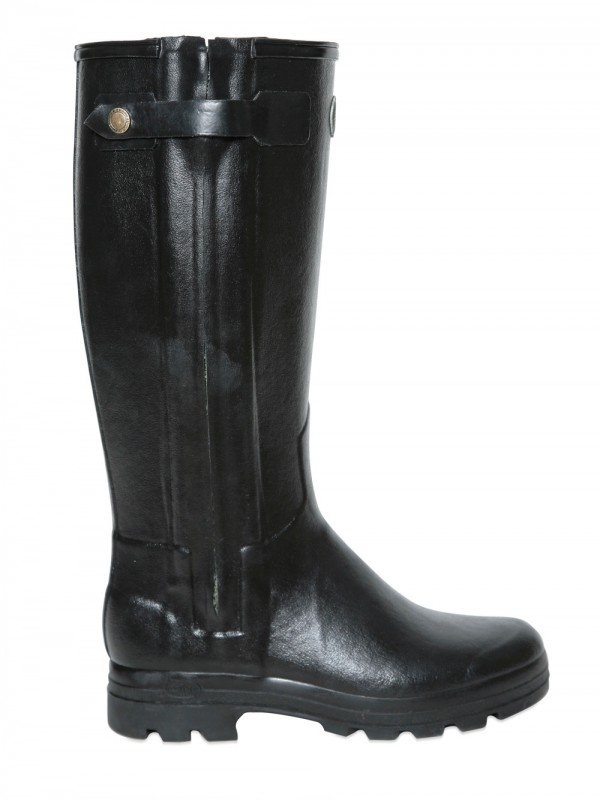 Le chameau Natural Rubber Leather Rain Boots in Black for Men | Lyst