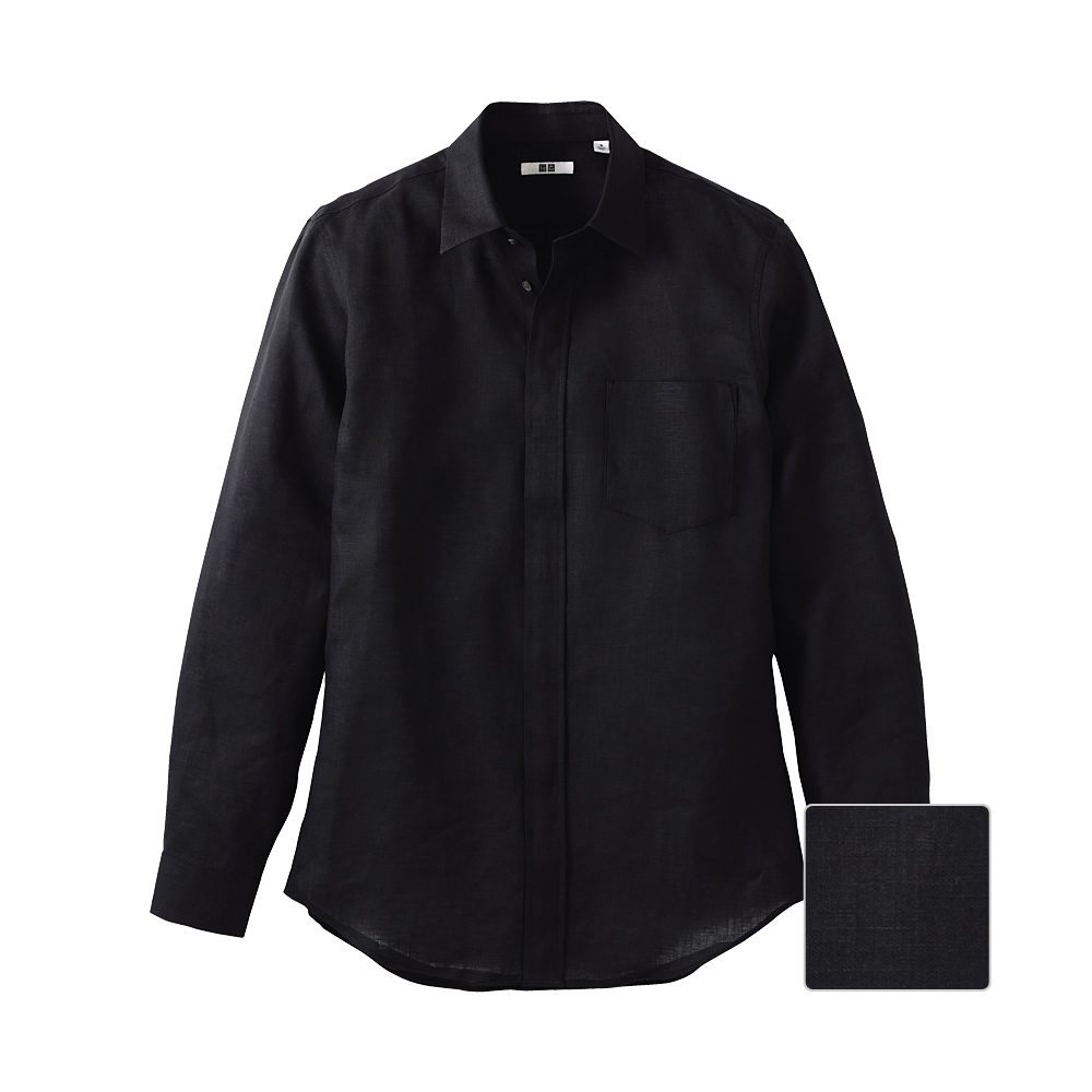 Uniqlo Linen Slim Fit Long Sleeve Shirt In Black For Men