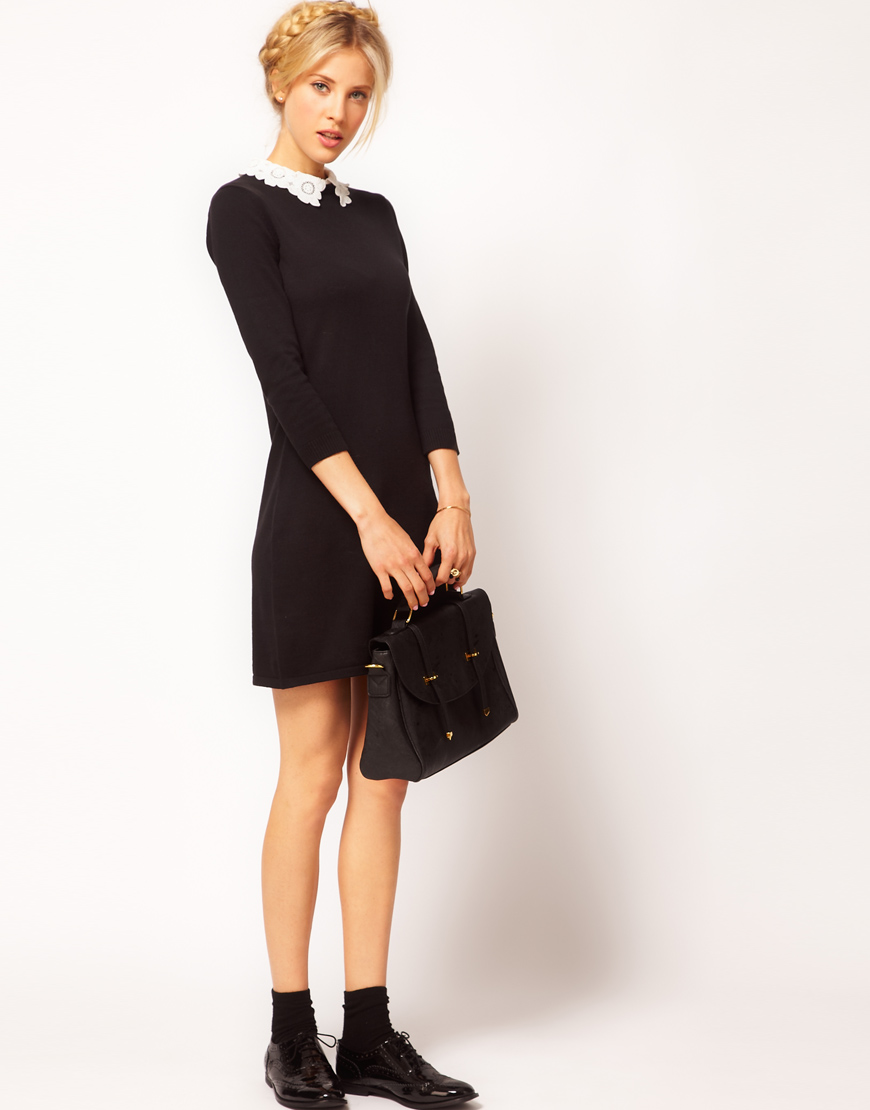 80e2bc9c8d0c ASOS Knit Dress with Lace Collar in Black - Lyst