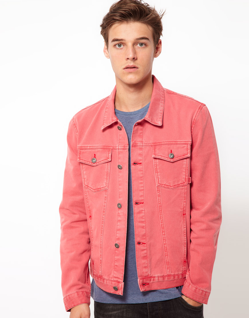 Asos Denim Jacket In Red For Men Lyst