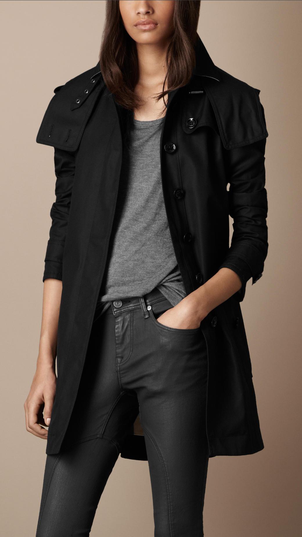 burberry brit midlength cotton poplin trench coat in black. Black Bedroom Furniture Sets. Home Design Ideas