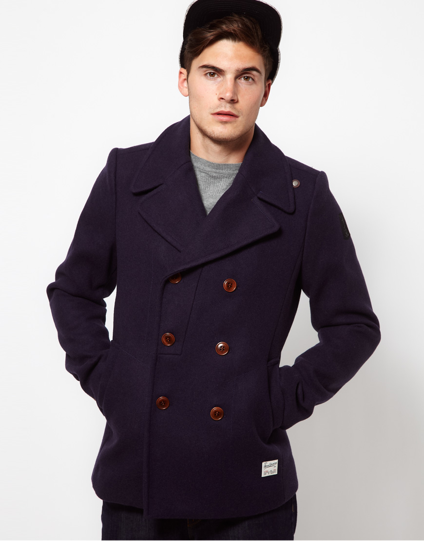 G-star raw Wool Pea Coat in Blue for Men | Lyst