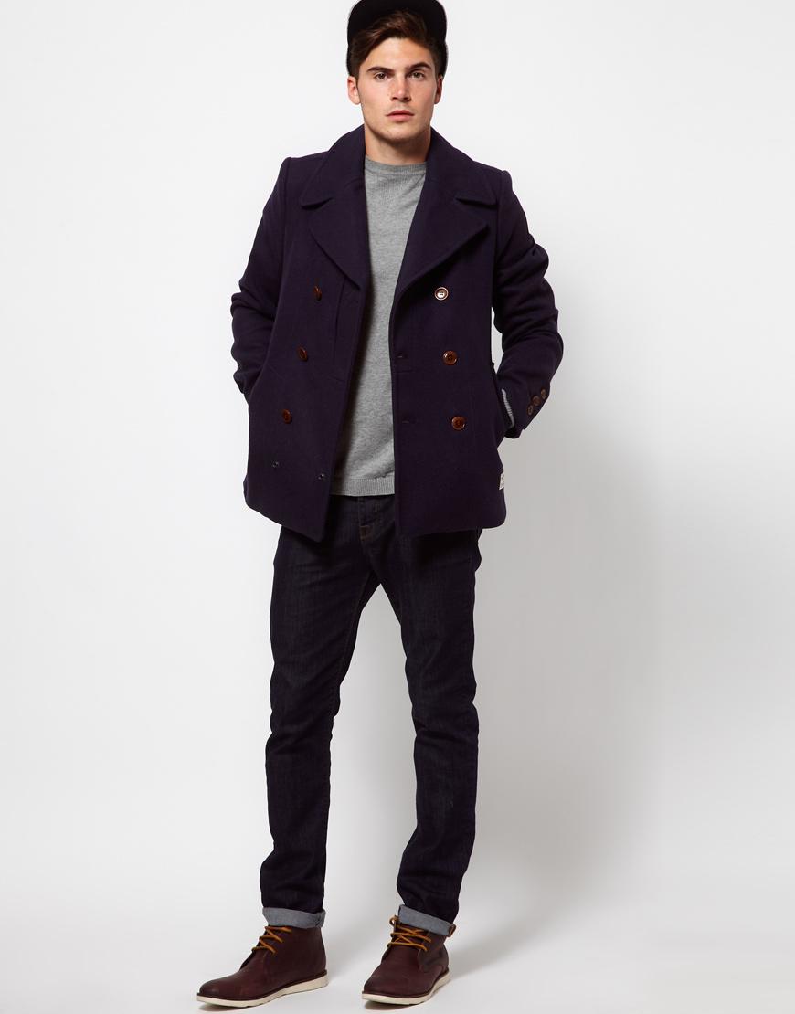 g star raw wool pea coat in blue for men lyst. Black Bedroom Furniture Sets. Home Design Ideas