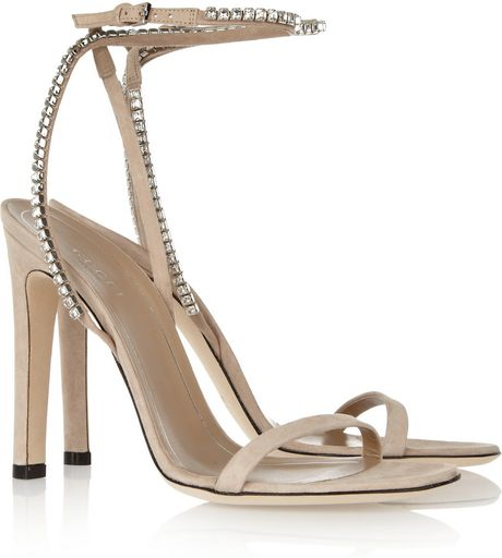Gucci Crystal embellished Suede Sandals in Beige (taupe)