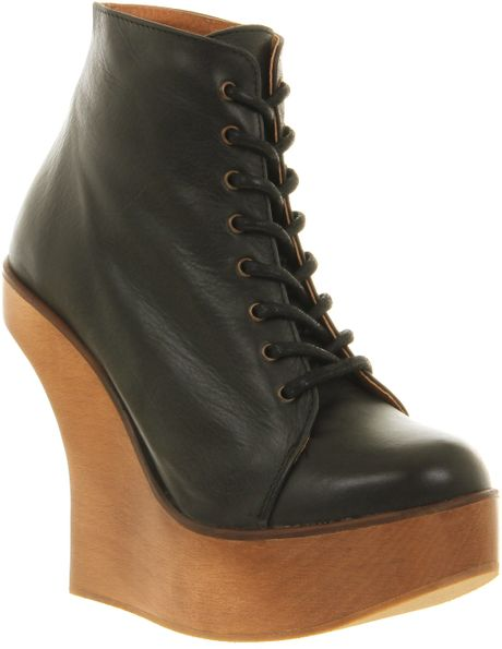 Jeffrey Campbell Harlem Ankle Boot Black Lthr Natural Heel in Black