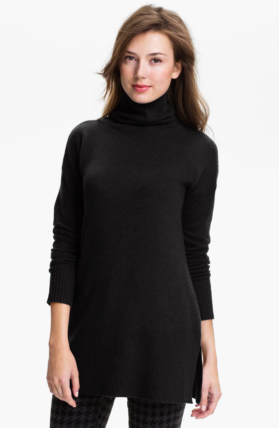 Only Mine Turtleneck Cashmere Tunic in Black
