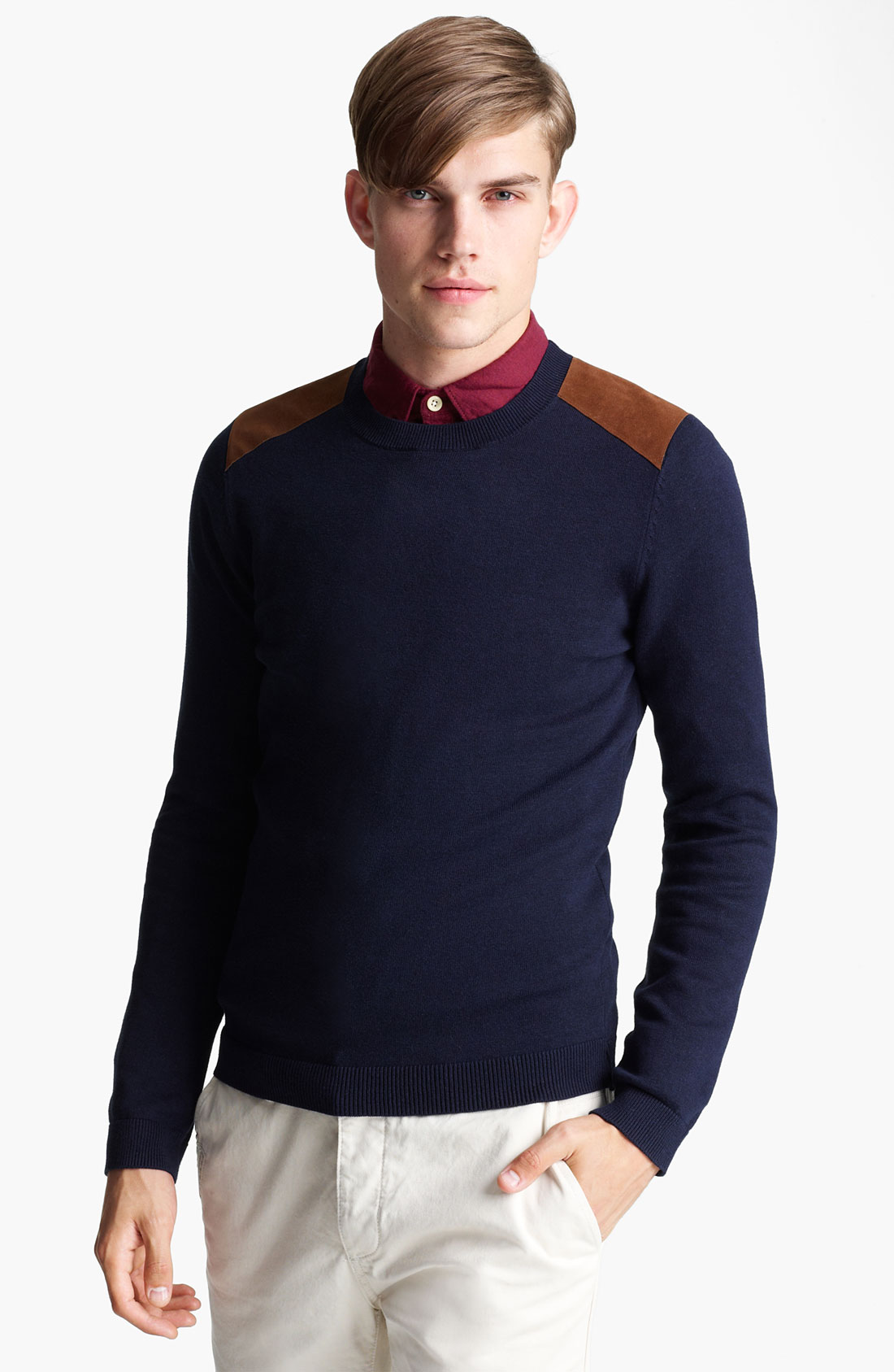 Mens Sweater With Shoulder Patch