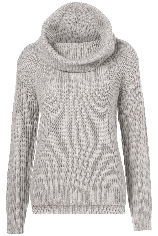 8bdd0a052007 TOPSHOP Knitted Rib Roll Neck Jumper in Gray - Lyst