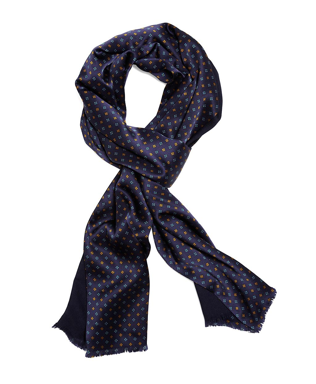 brothers reversible silk and wool foulard scarf in