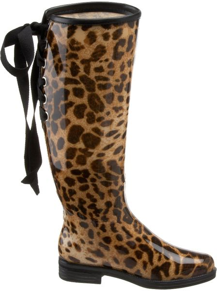 Dav Victoria Leopard Print Rain Boots In Black Black