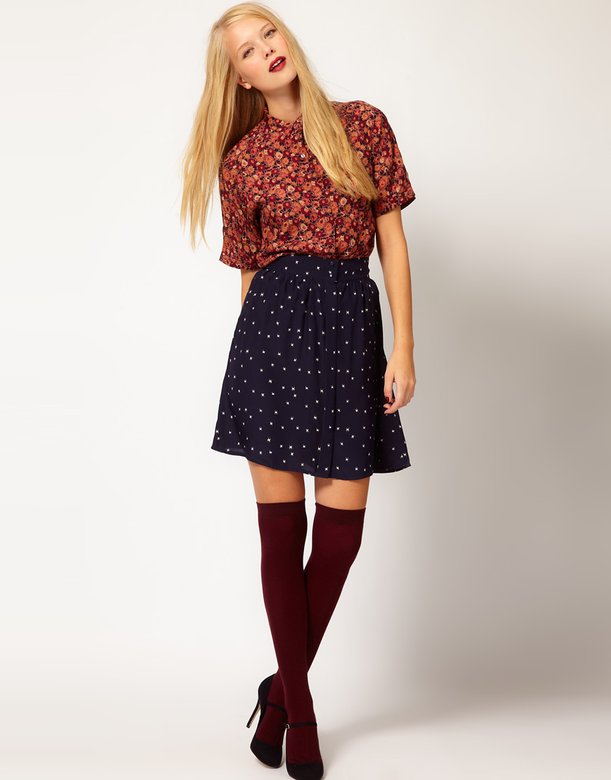 517ed4780c44a5 Sessun Eton College Floral Silk Blouse in Red - Lyst