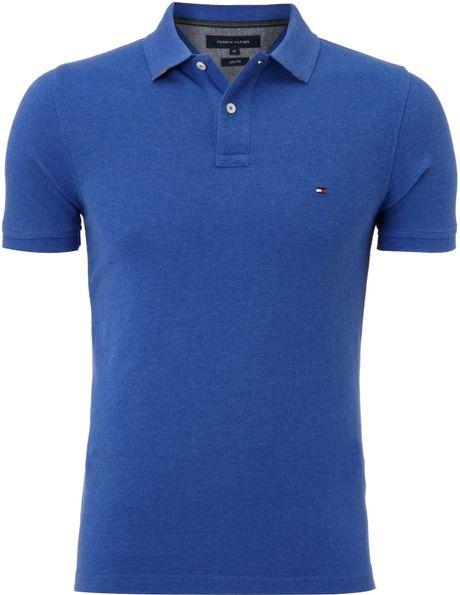 tommy hilfiger slim fit washed polo shirt in blue for men lyst. Black Bedroom Furniture Sets. Home Design Ideas