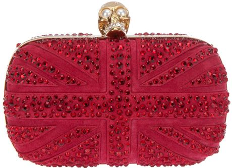 Alexander Mcqueen Skull Clutch in Red