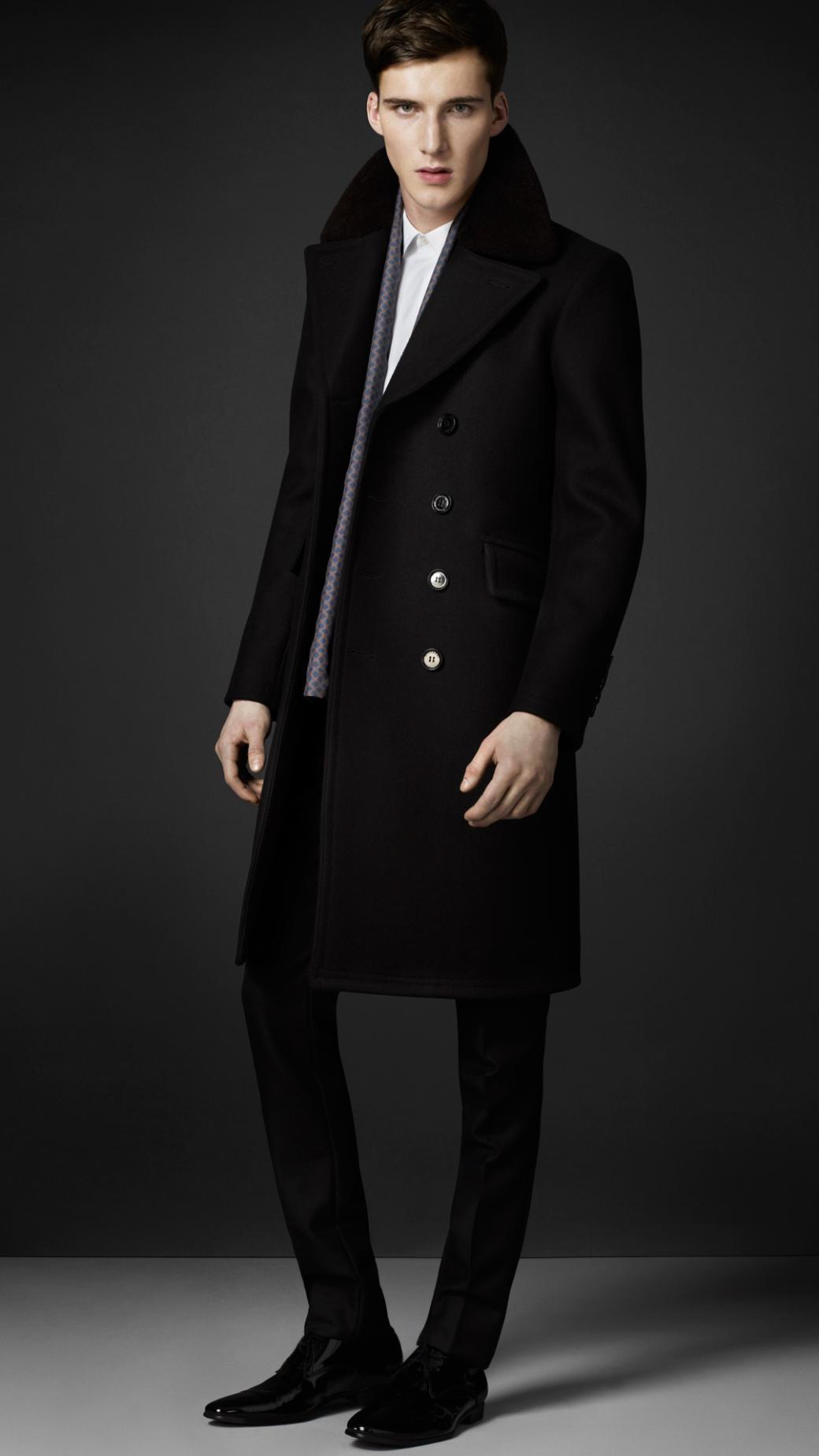 c03e0945530 Lyst - Burberry Virgin Wool Chesterfield Coat in Black for Men