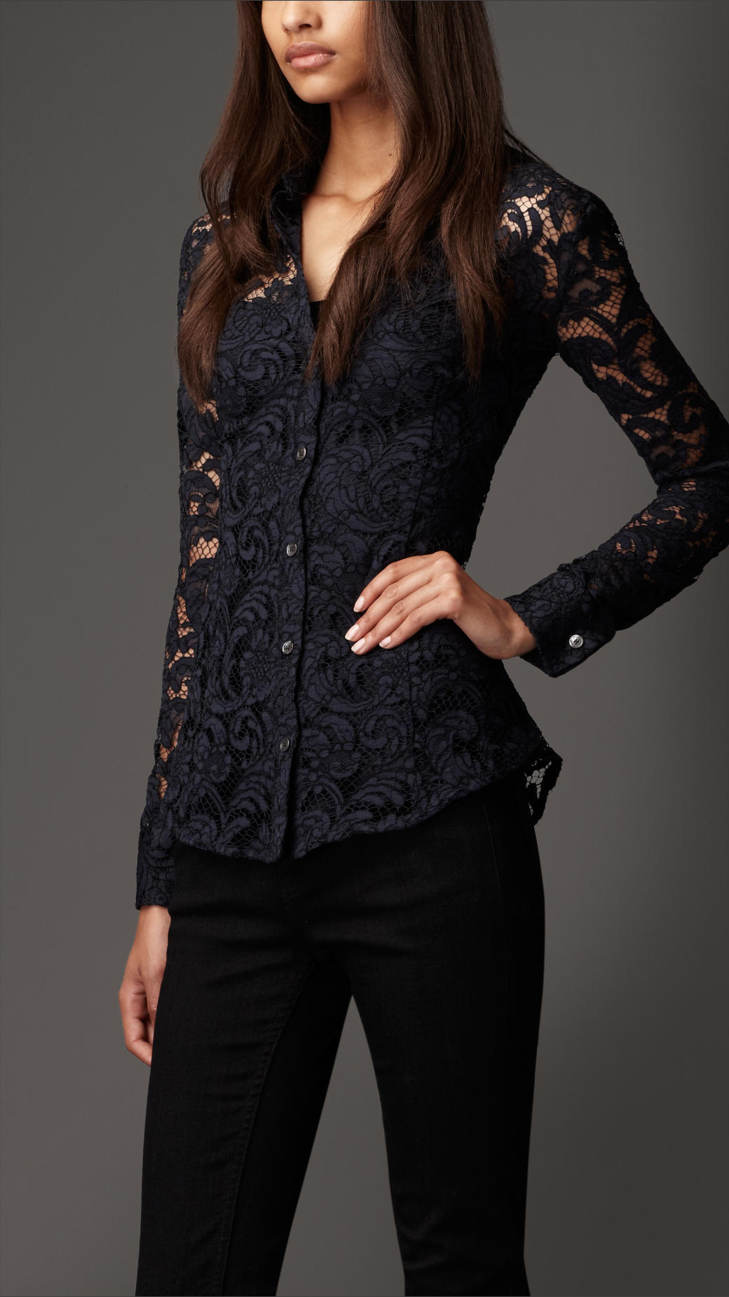 bd25d8a1c7ef1 Burberry Fitted Lace Shirt in Black - Lyst