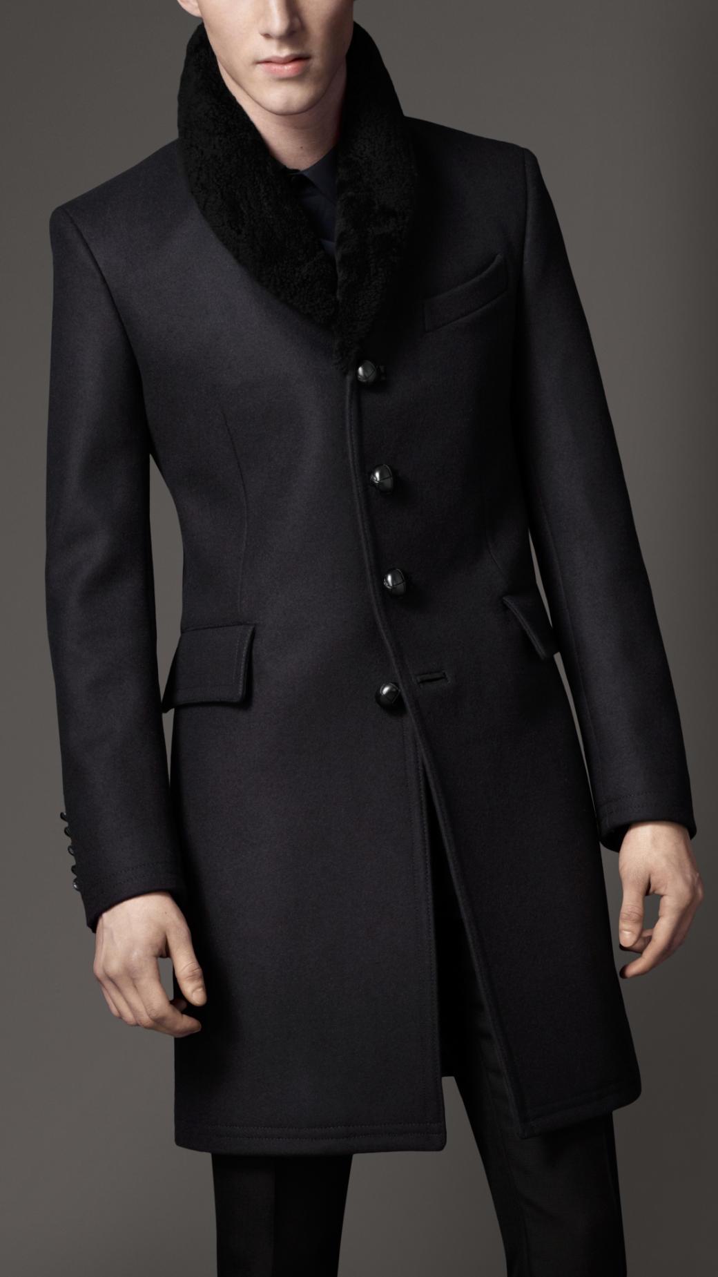 Burberry Shearling Collar Top Coat In Black For Men Navy