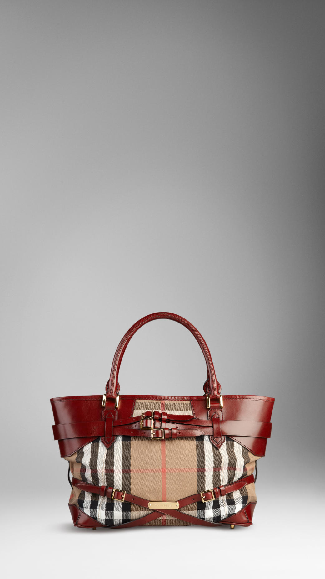 e1394ef37d3 Burberry Medium Bridle House Check Tote Bag in Brown - Lyst