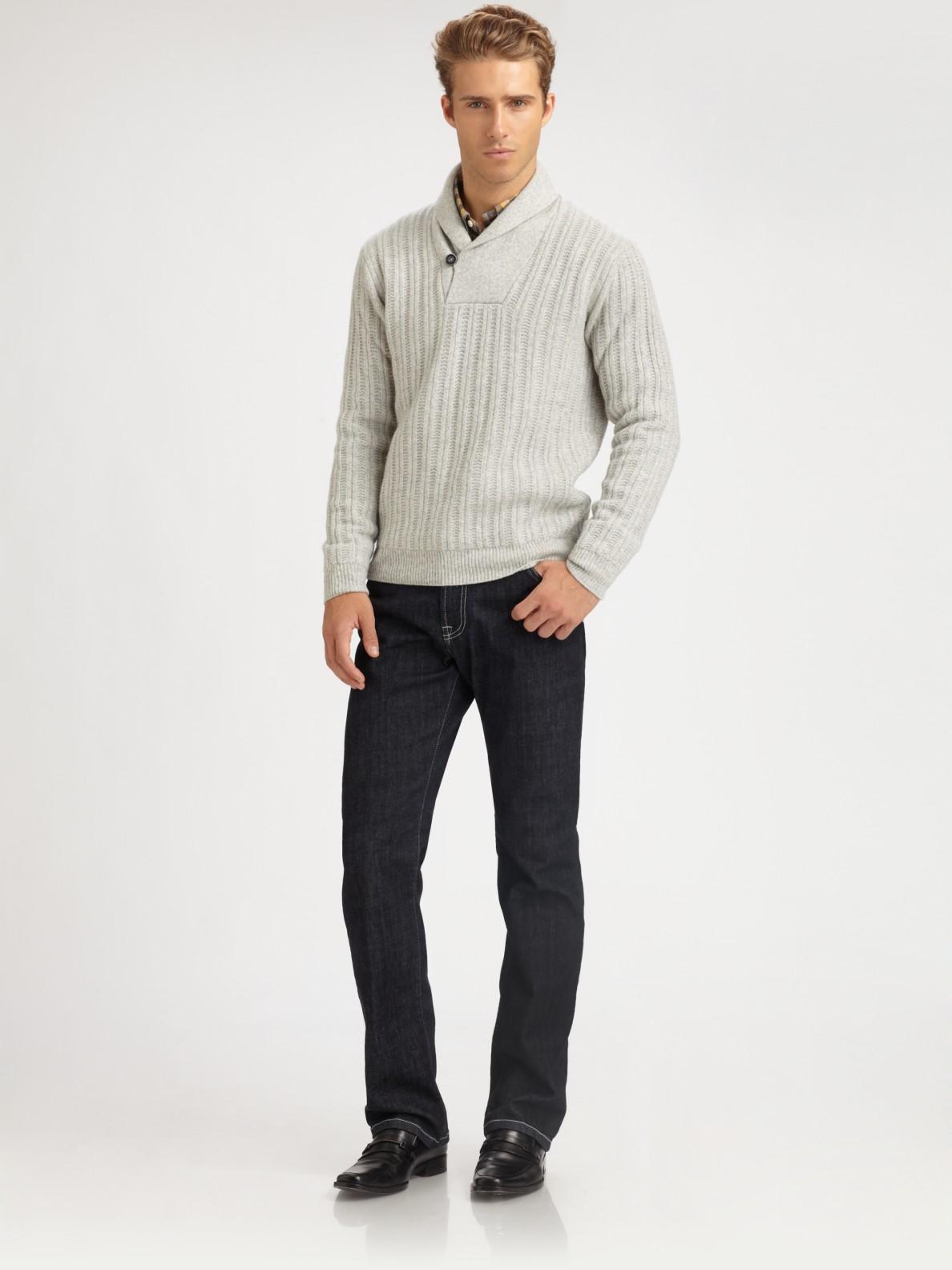 Corneliani Shawl Collar Sweater in Gray for Men   Lyst