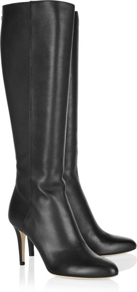 Jimmy Choo Grand Texturedleather Knee Boots in Black