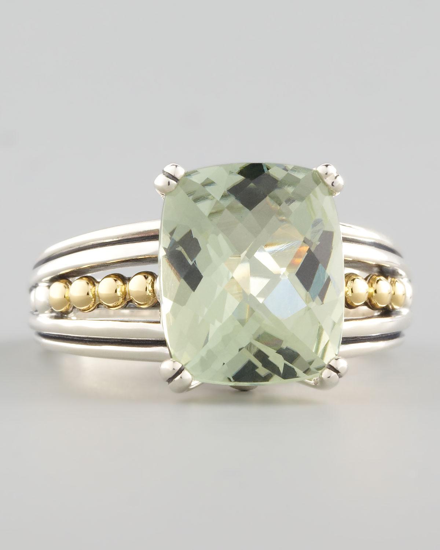 Lagos Silver Prism Ring Green Amethyst In Green Green