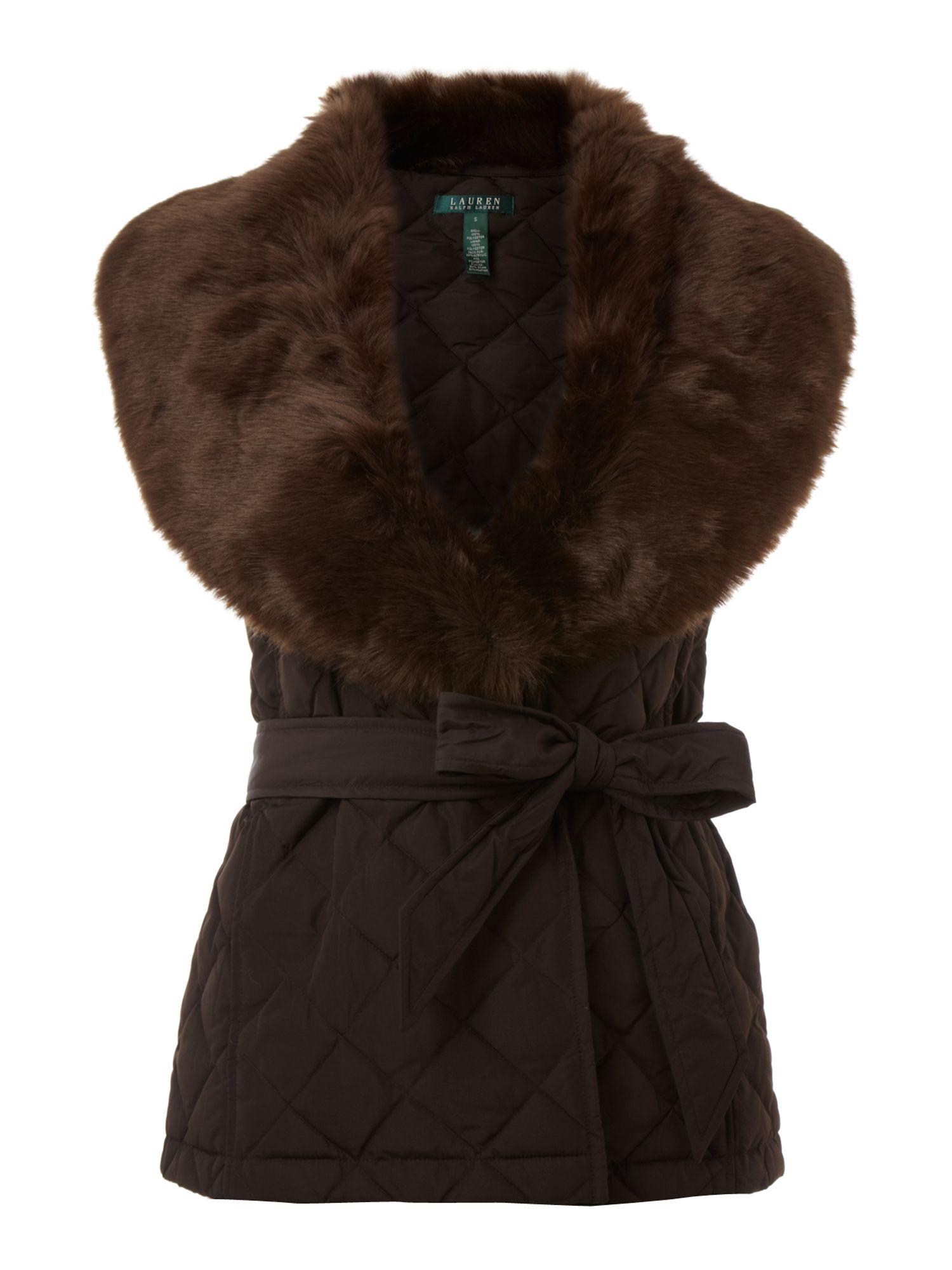 lauren by ralph lauren aria belted gilet with fur collar. Black Bedroom Furniture Sets. Home Design Ideas