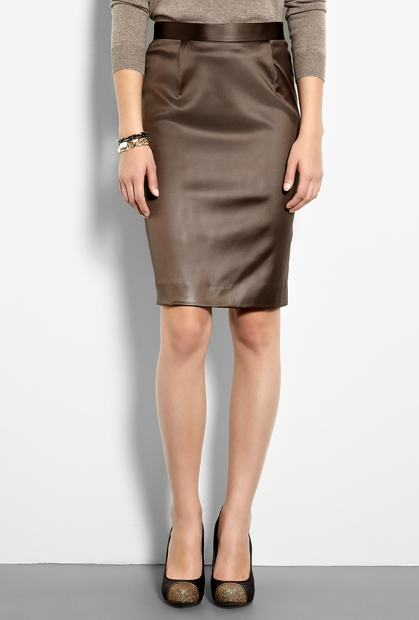 moschino cheap chic stretch satin pencil skirt in brown
