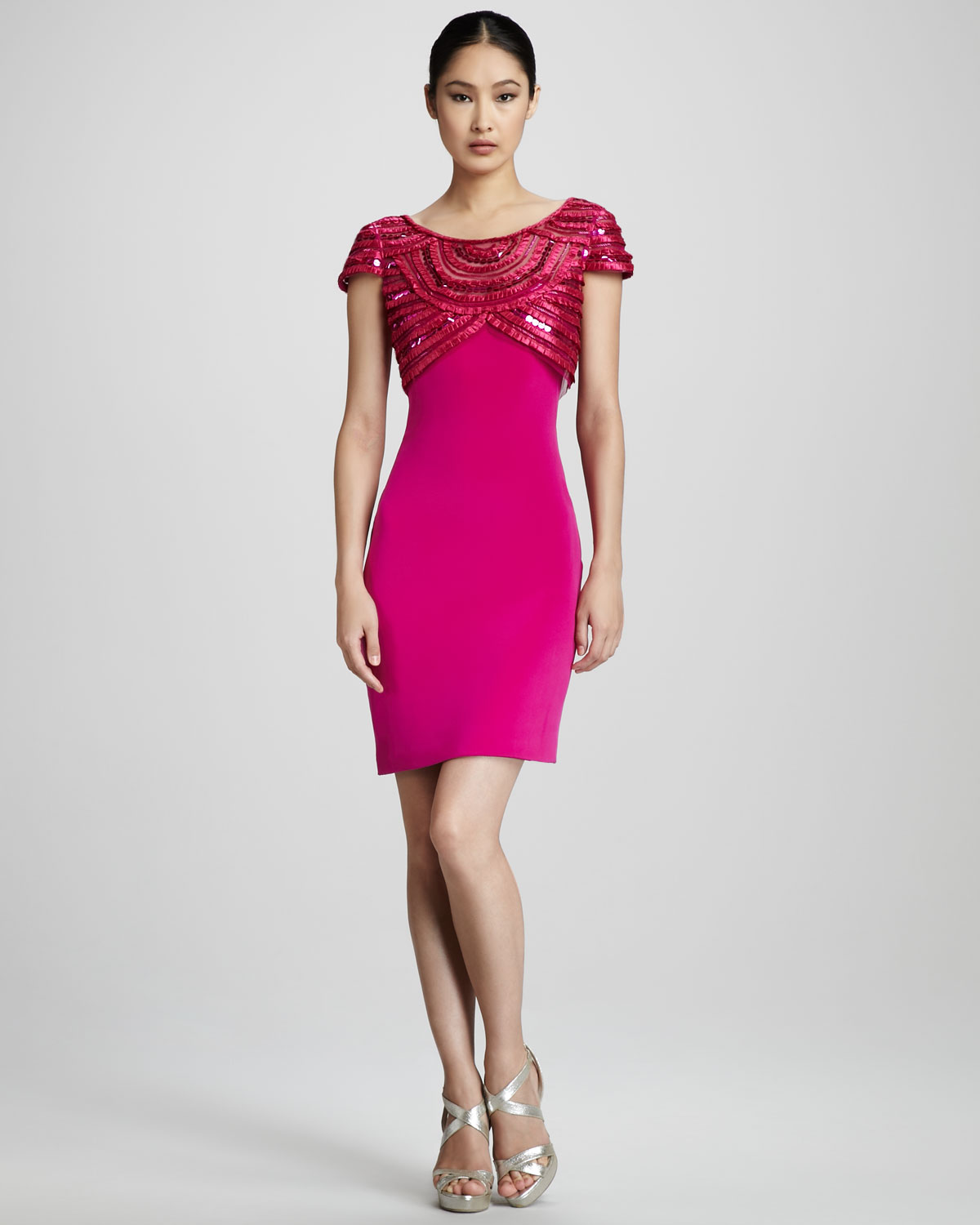 Notte by marchesa Beaded Cocktail Dress in Pink  Lyst