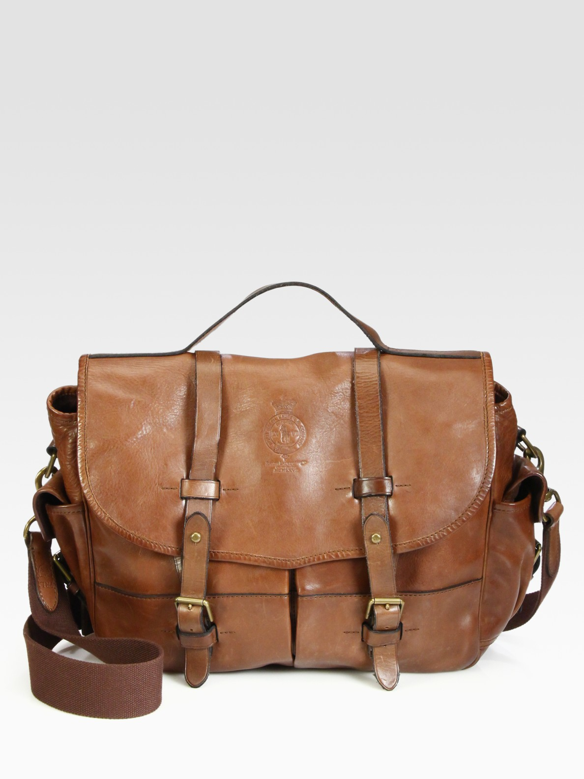 0e4cd99b36 ... sale lyst polo ralph lauren leather messenger bag in brown for men  722dc 86599