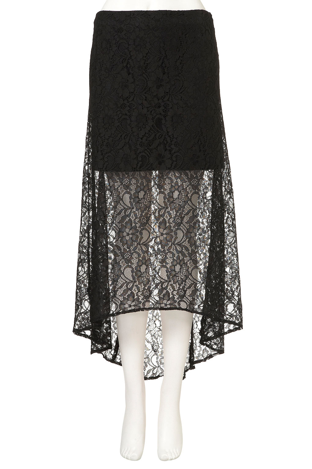 topshop black lace maxi skirt in black lyst