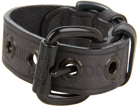 Vivienne Westwood Liquorice Leather Cuff in Gray (l)