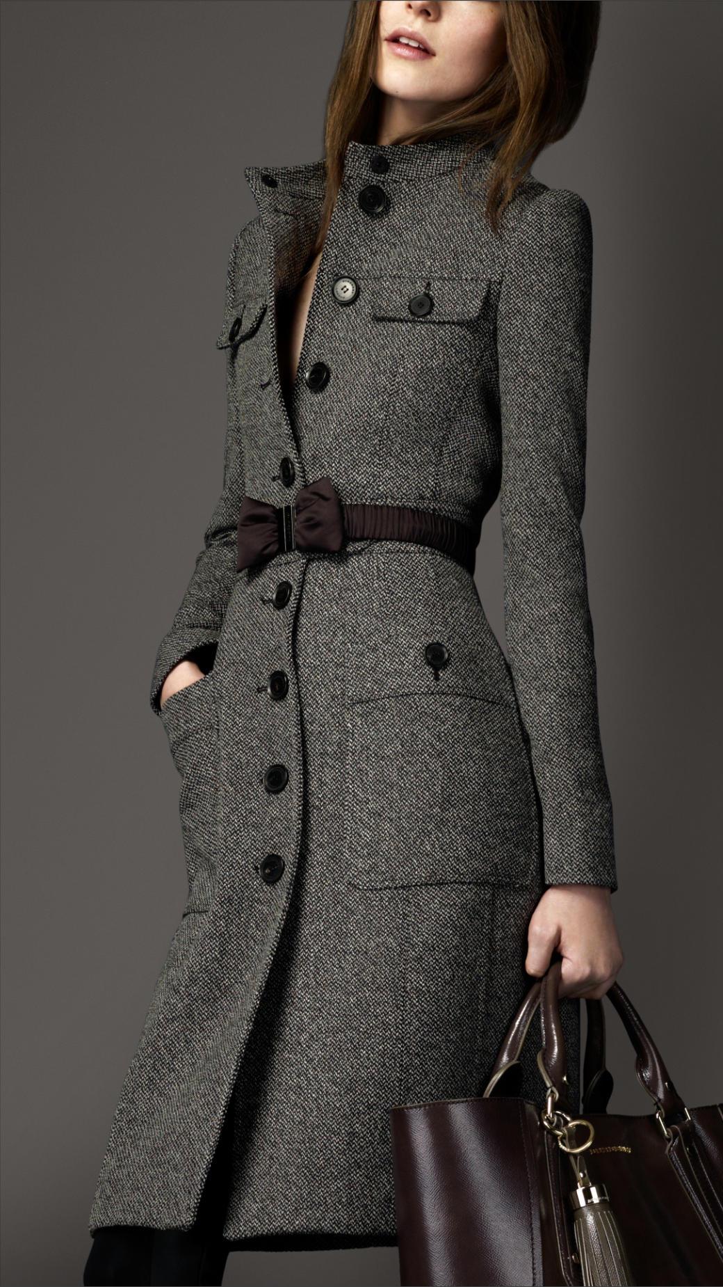 Lyst Burberry Wool Full Skirt Coat In Gray