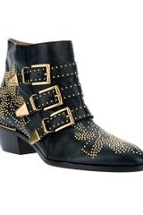 Chloé Studded Buckled Ankle Boot