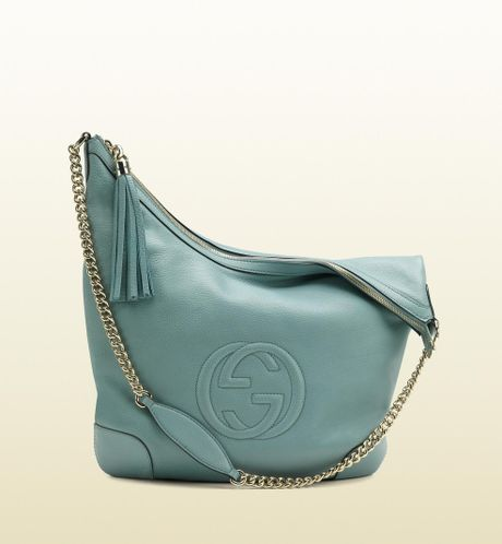Gucci Soho Light Blue Leather Shoulder Bag with Chain Strap in Blue