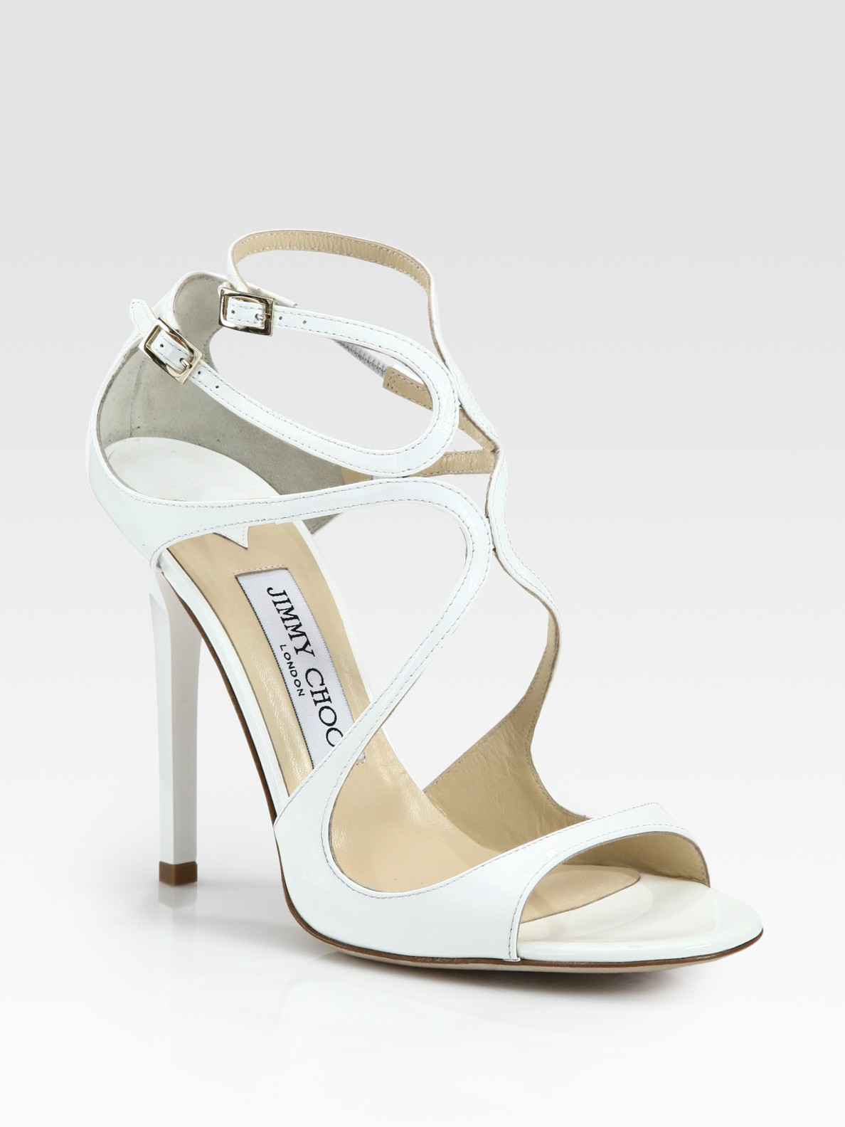 6ff8220fc453 czech lyst jimmy choo lance patent leather sandals in white f69df aaa82