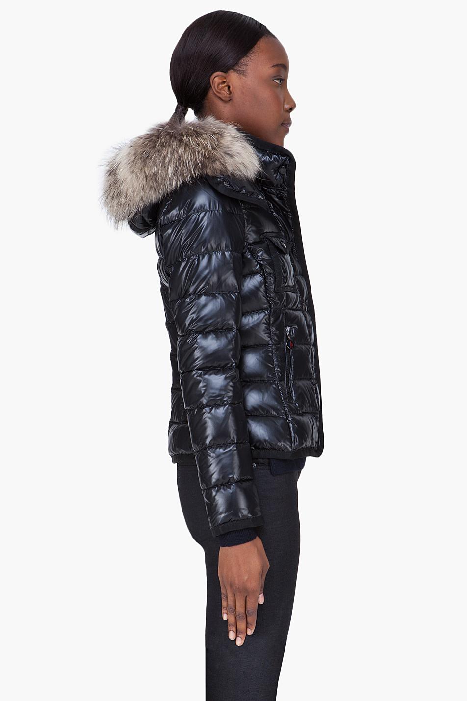 Lyst Moncler Black Raccoon Fur Hood Armoise Jacket In Black