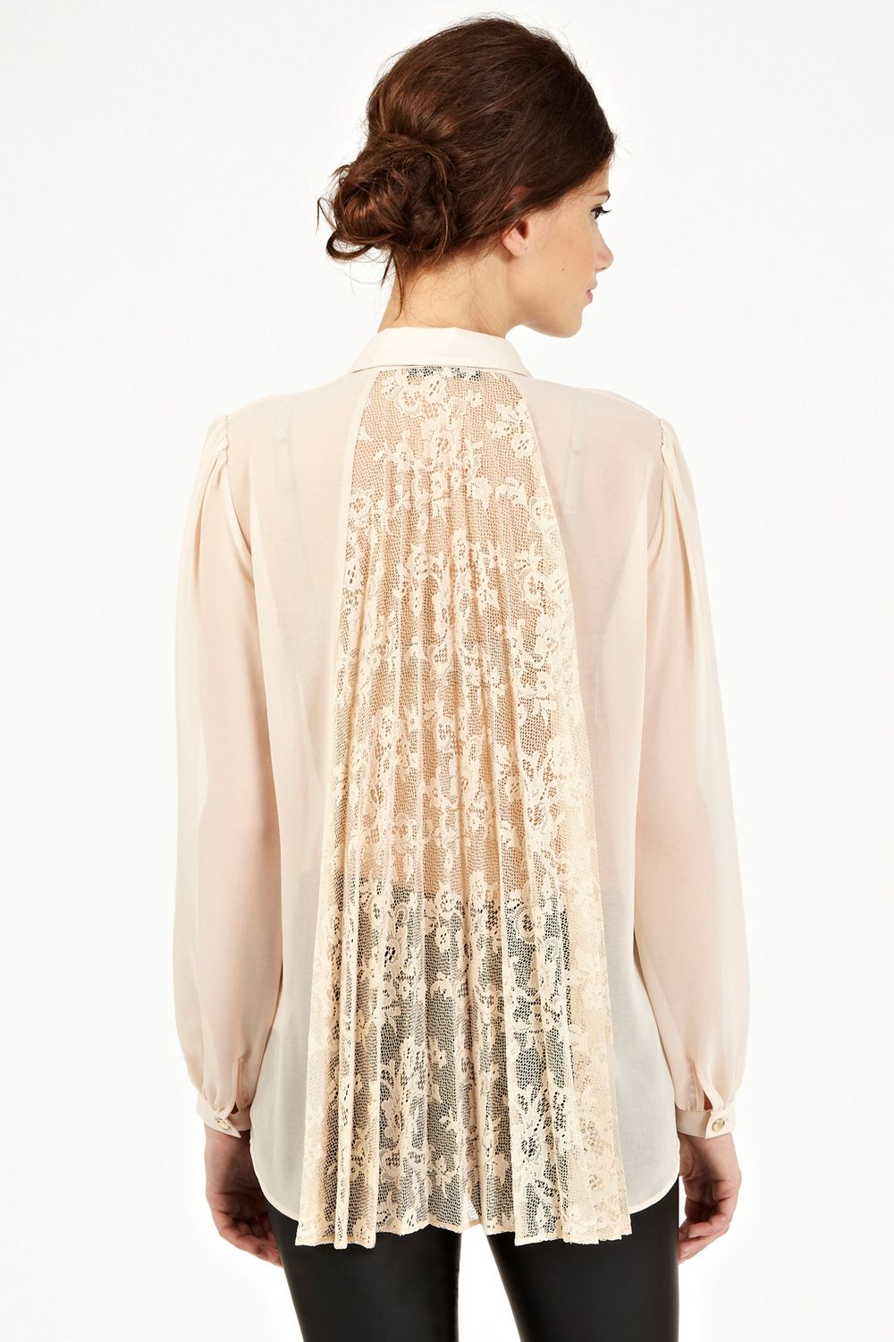 oasis lace pleat back chiffon blouse white frilly blouses