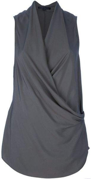 Victoria Beckham Sleeveless Draped Top in Green - Lyst