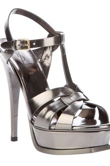 Yves Saint Laurent Metallic Sling Back Sandal - Lyst