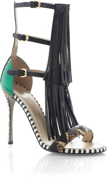 Sergio Rossi Ss Tawaraya Double Tiered Sandal in Multicolor (black/white/tan/green) - Lyst
