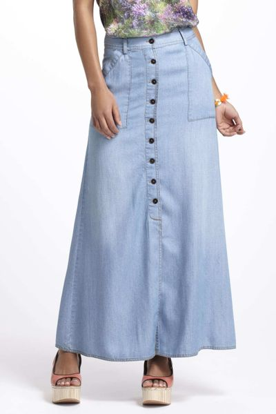 anthropologie chambray maxi skirt in blue lyst