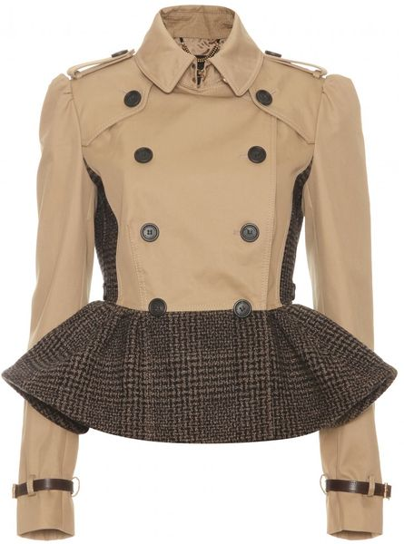 Burberry Prorsum Trench Jacket with Tweed Peplum in Beige (ash)