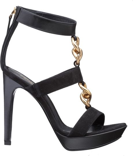 fendi sandal shoes black in black lyst