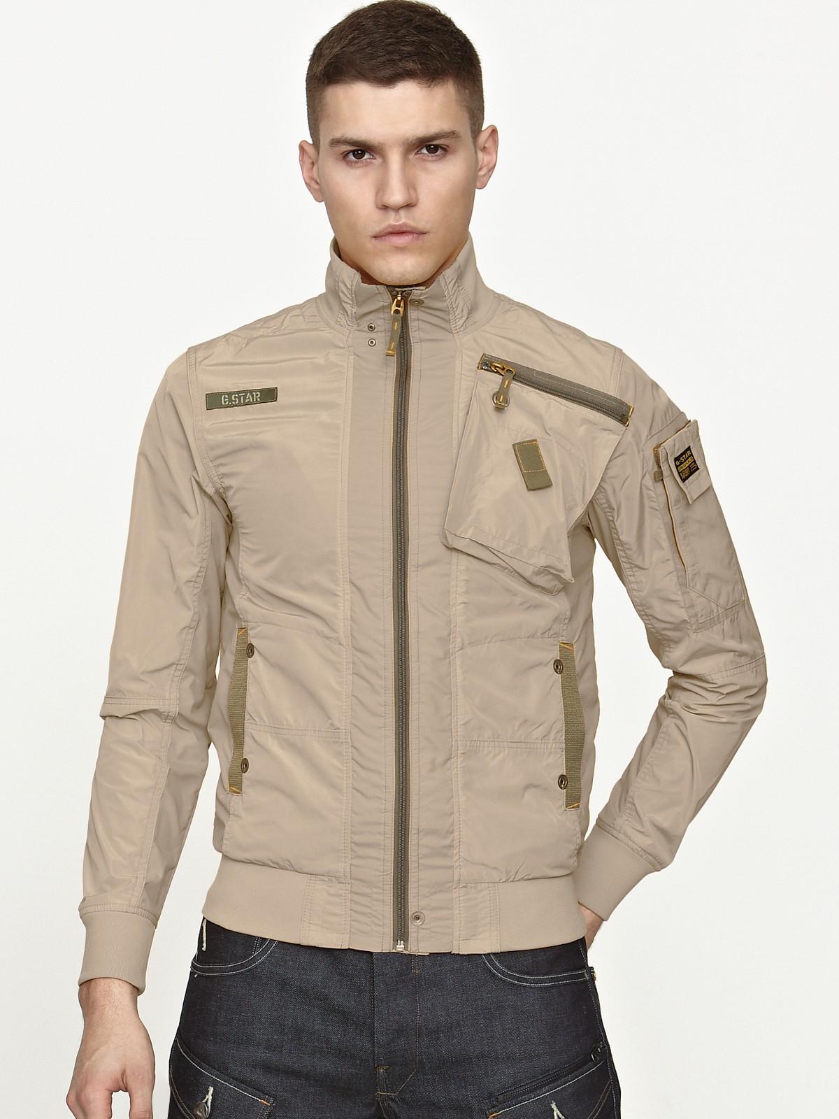 g star raw gstar raw mens blouson jacket in beige for men. Black Bedroom Furniture Sets. Home Design Ideas