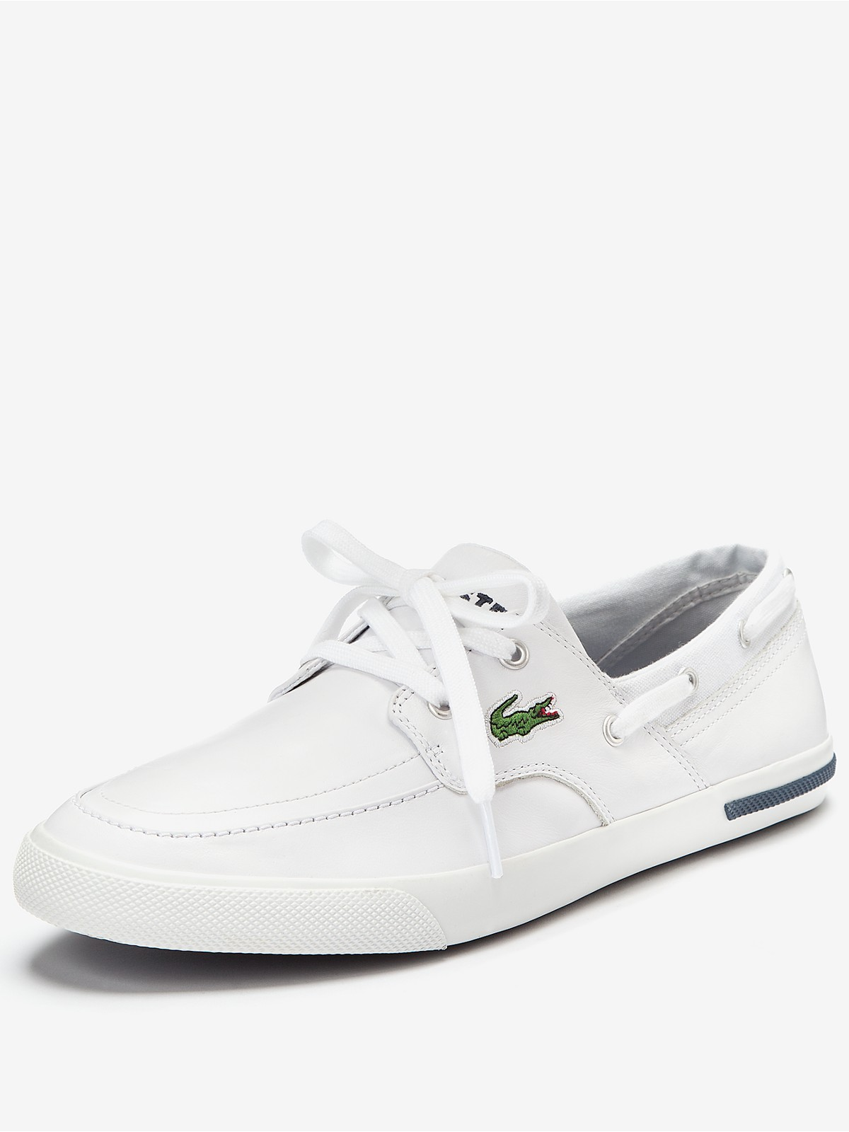 lacoste mens newton boat shoes in white for men lyst