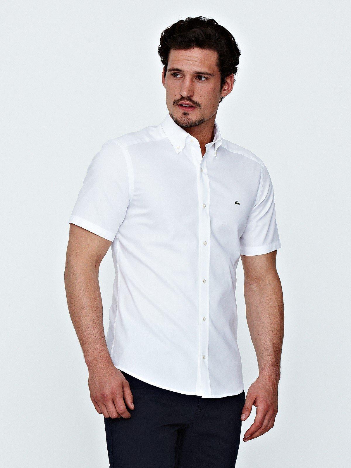 Lacoste Mens Short Sleeve Oxford Shirt In White For Men Lyst