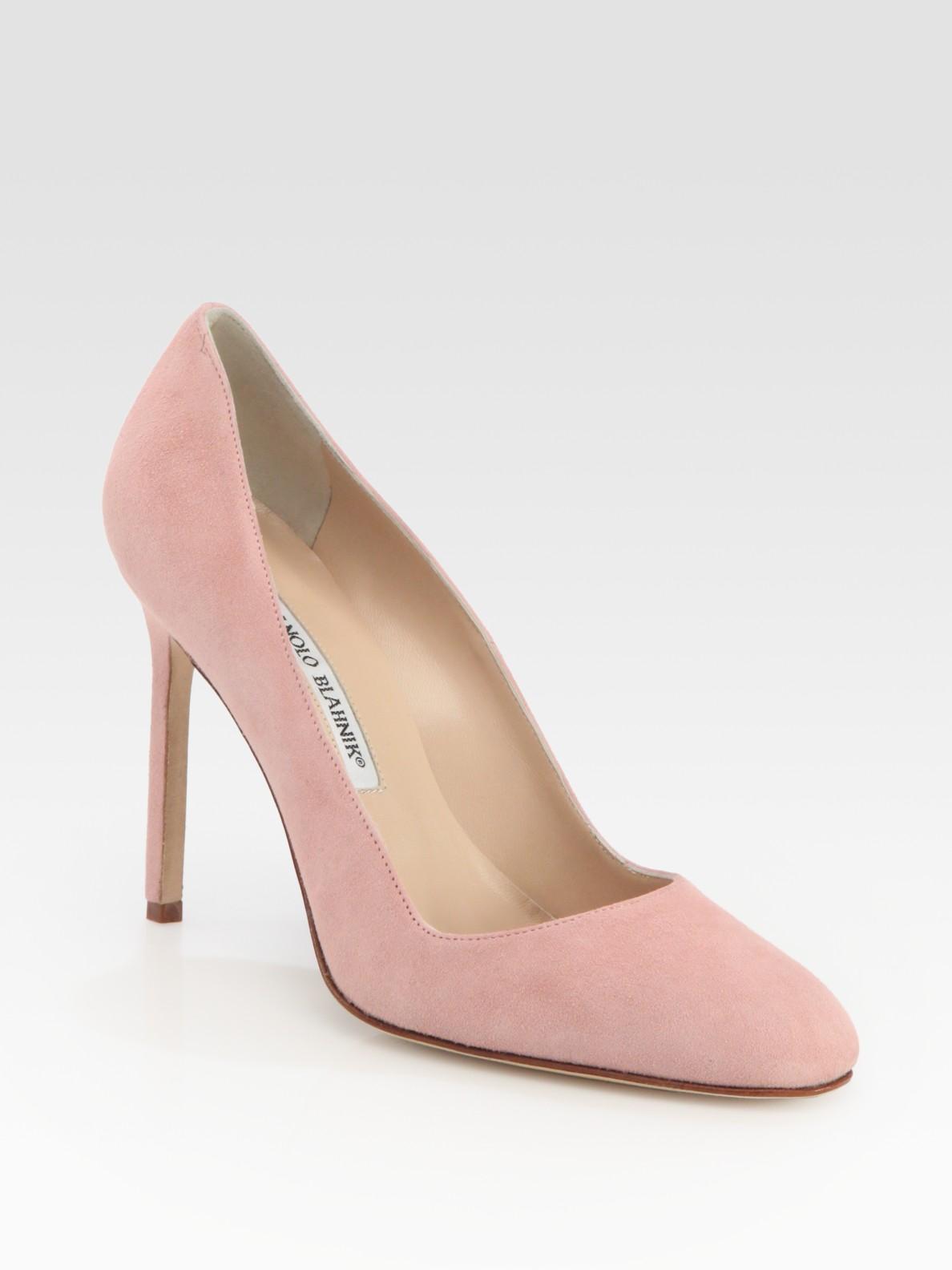 6949b96b58b8 Lyst - Manolo Blahnik Bb Suede Round Toe Pumps in Pink