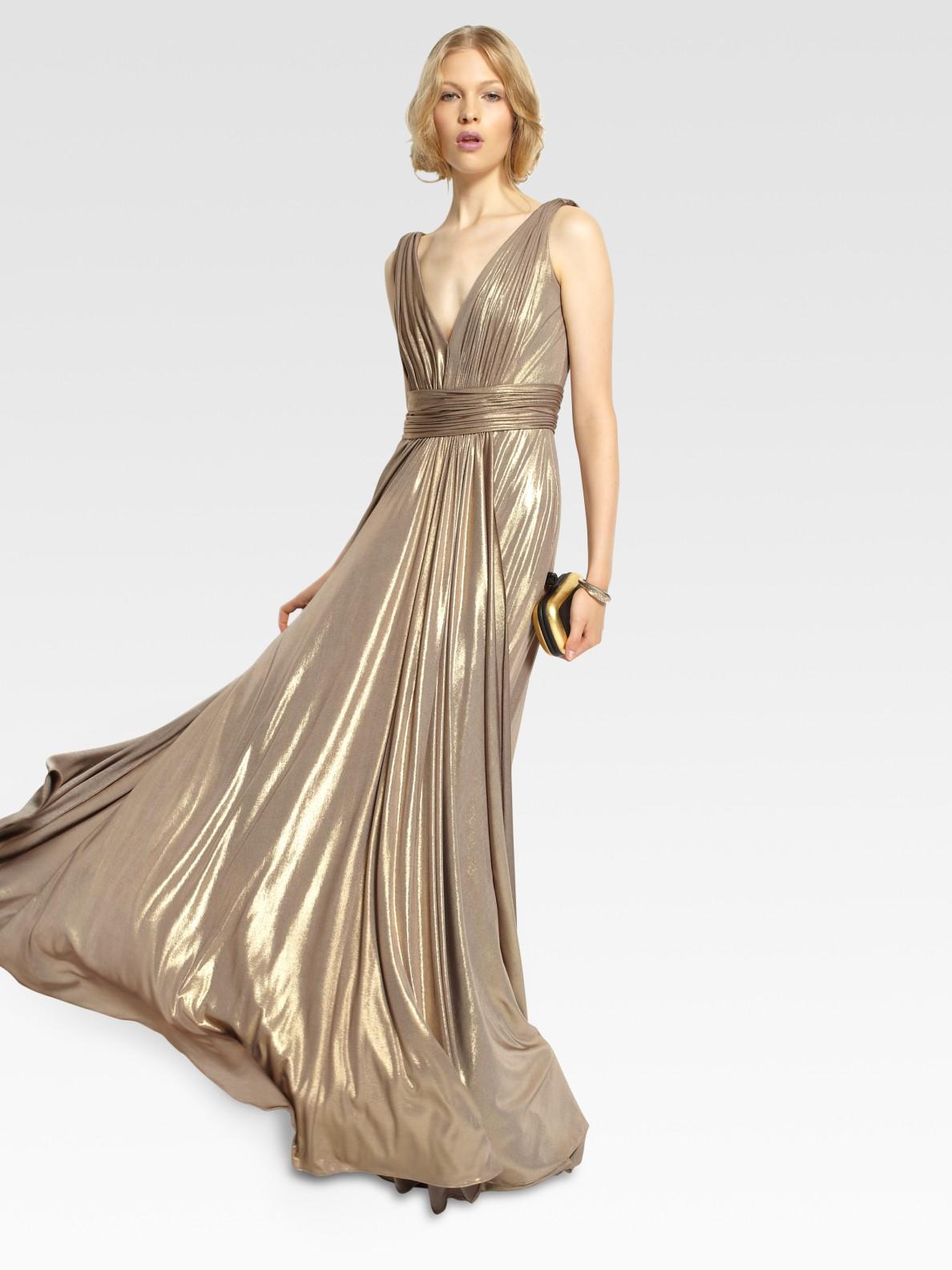 Lyst - Notte By Marchesa Metallic Gown in Metallic